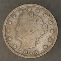 Image of 1903 5 cents (with cents), Breen 2568, US. - 2004.0105.0086