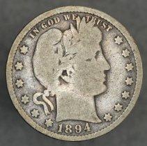 Image of 1894 S Liberty head quarter dollar, Breen 4141, US. - 1977.0003.0060