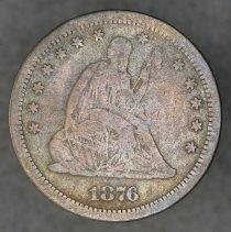 Image of 1876 S liberty seated quarter dollar (type II), Breen 4085, US. - 1989.0151.0392