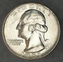 Image of 1955 D Washington quarter dollar, Breen 4374, US O.