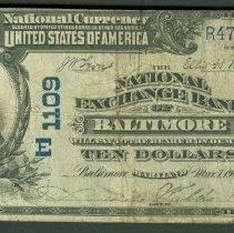 Image of US 10 Dollar NBN, National Exchange Bank of Baltimore F.