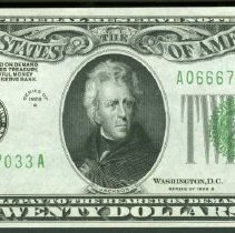 Image of 20 Dollar Federal Reserve Note, US F.