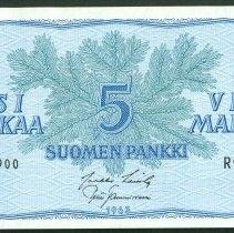 Image of 1963 5 Markka, Finlands Bank, KM-99a (20th Ed), Finland. - 1981.0197.0080