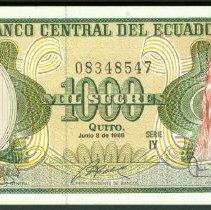 Image of 1986 1000 Sucres, KM-125b (2014), Ecuador.  - 2015.0100.0213