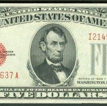 Image of Series 1928 $5 LTN, Fr 1531, I21497637A, US. - 1984.0128.0606