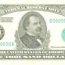 Image of 1000 Federal Reserve  Note (Front), Prusmack Drawing, 1928. - 2005.0032.0029