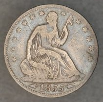 Image of 1855 Liberty Seated,  Arrows at Date   Half Dollar, Breen 4856, US - 2003.0028.0313