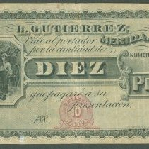 Image of ND (1880's) 10 Pesos, Yuc-57, Mexico - 1973.0023.0750