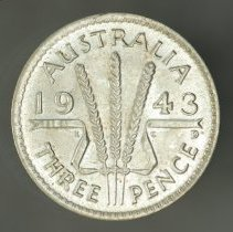 Image of 1943D Threepence, George VI