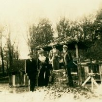 Image of Group stands near ruins of Big Bone Lick hotel