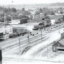 Image of Aerial of Railroad properties and all of Front Street. - 2015FIC313