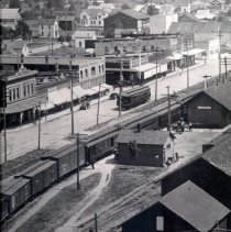 Image of Aerial of train, trolley, Opera House, Henderson shop