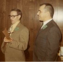 Image of Landis, Larry Ass. Police Chief giving award to Larry Fisher, 1972 - 2015FIC1549
