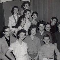 Image of Cast of school play abt. 1950.  Peter Gorczwski, Betty Burt, Sheila Doerfler, Judy Reed, Toni Painter and others - 2015FIC1803