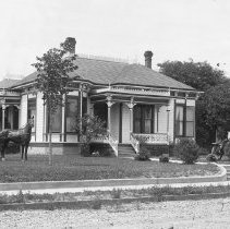 Image of House H-42 with horse, buggy and a car on the lawn - 2016FIC2114