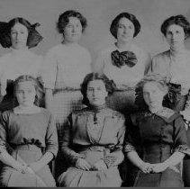 Image of School Hall, J.J.-B-3d-10 Girls from 1913 Edith Plank 2nd from left top row - 2016FIC2418