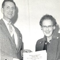 Image of O'Brian, Kathleen receives Achievement Award from Amos Reed 1958 - 2016FIC3088