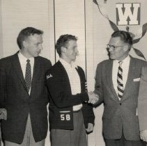 Image of WHS coaches, 1957, congratulate student Dick Beaty, with Rotary Club - 2016FIC4441