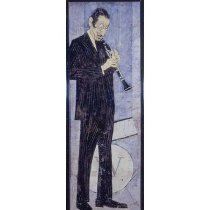 Image of 10645-4570 - Portrait, Oil on Board, Man Playing Clarinet