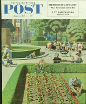 Image of 10645-100 - Poster; John Falter; Offset Lithograph; City Park; Saturday Evening Post; June 5, 1954