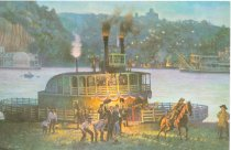 Image of 10645-1727 - Print; John Falter; Offset Lithograph; Over the River, First Run, Pony Express