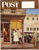 Image of 10645-2415 - Proof, Printing; John Falter; Offset Lithograph; Antiques Store; Saturday Evening Post; June 28, 1947
