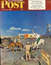 Image of 10645-2427 - Clipping, Magazine; Cover; John Falter; Offset Lithograph; Photos on Fake Broncos; Saturday Evening Post; July 24, 1948