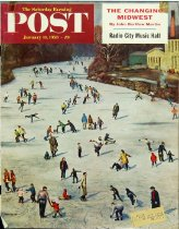 Image of 10645-2458 - Clipping, Magazine; Cover; John Falter; Offset Lithograph; Fox River Ice-Skating; Saturday Evening Post; January 11, 1958