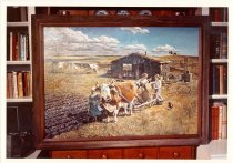 Image of RG4121.AM.S5.F104 NEW LAND OLD LAND FRAMED PAINTING