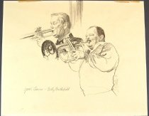 Image of 10645-3570 - Drawing; John Falter; Graphite; Yank Lawson, Billy Butterfield