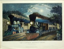 "Image of 10645-3676 - Print; Frances F. Palmer, Nathaniel Currier, James M. Ives; Gravure; The ""Lightning Express"" Trains"