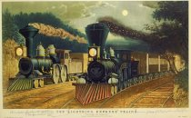 "Image of 10645-3677 - Print; Frances F. Palmer, Nathaniel Currier, James M. Ives; Offset Lithograph; The ""Lightning Express"" Trains"