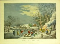 Image of 10645-3709 - Print; Nathaniel Currier, James M. Ives; Aquatint; Winter Evening
