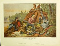Image of 10645-3718 - Print; Nathaniel Currier, Arthur F. Tait; Offset Lithograph; Camping in the Woods