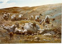 Image of RG4121.AM.S5.F105 FRAMED PAINTING-OREGON TRAIL