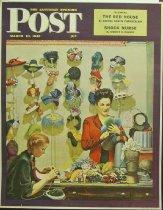 Image of 10645-4296 - Poster; John Falter; Offset Lithograph; Millinery Shop; Saturday Evening Post Cover; March 10, 1945