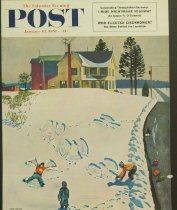 Image of 10645-4315 - Poster; John Falter; Offset Lithograph; Snow Angels; Saturday Evening Post; January 10, 1953
