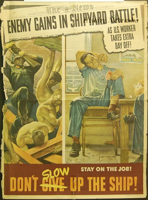 Stay on the Job Don/'t Slow Up The Ship NEW WWII Vintage Navy POSTER
