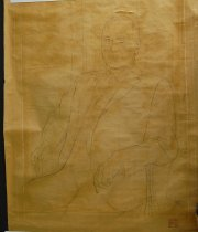 Image of 10645-4453 - Sketch, Man, Graphite; Signed on Brown Paper