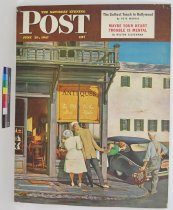 Image of 10645-4522 - Poster; John Falter; Offset Lithograph; Antiques Store; Saturday Evening Post; June 28, 1947