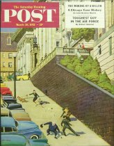 Image of 10645-94 - Poster; John Falter; Offset Lithograph; Spilled Purse on Steep Hill; Saturday Evening Post; March 26, 1955