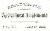 Image of 10665-36 - Card, Business, Henry Keefer; Printing Sample