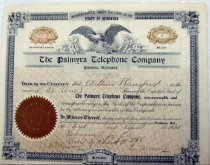 Image of 10797-12 - Palmyra Telephone Company Stock Certificate, One Share,  Arthur Ransford, April 2, 1921