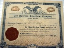 Image of 10797-6 - Palmyra Telephone Company Stock Certificate, One Share, W.M. Mast, May 12, 1905