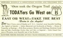 Image of 10861-75 - Postcard, Todayers Go West on Nebr. US 6; Promotional, Tourist Attractions, Nebraska
