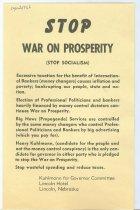 Image of 11055-2254 - Flyer, Henry Kuhlmann for Governor; Stop War on Prosperity, Stop Socialism