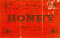 Image of 11055-2591 - Label, Honey; E.C. Leigh, Beatrice Nebraska, Red and Black