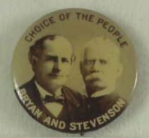 Image of 11082-7 - Button, Political; William Jennings Bryan/Stevenson; Jugate