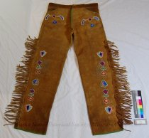 Image of 11284-4 - Pants, Mens; Leather; Woodland Beaded; Fringed