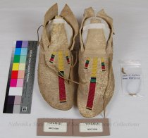 Image of 11310-10-(1-2) - Moccasins; Leather; Beaded; 3 stripe design; Crow
